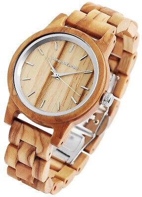 Damenuhr Armbanduhr Quarz analog Holzuhr Braun Olive 2800025-1 Leonardo Verrelli