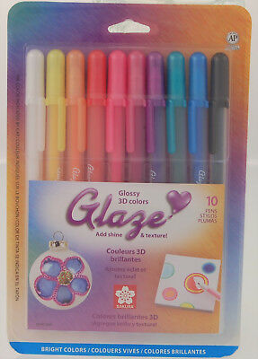 Sakura Glaze Glossy 3D Colors  Set of 10 Pens New](Sakura Glaze Pens)