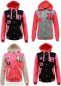 Kids-Girls-Boys-Unisex-R-Baseball-Jacket-Varsity-with-Neon-Pink-Sleeves-3-13Yrs