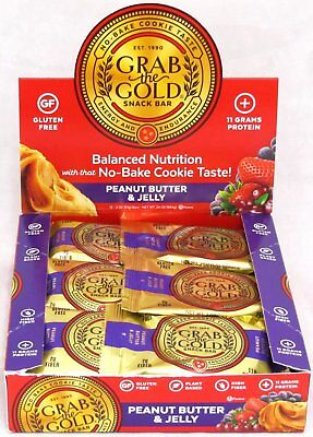 Grab The Gold Energy Snack Bars - Peanut Butter and Jelly - Protein 12 Count Box ()