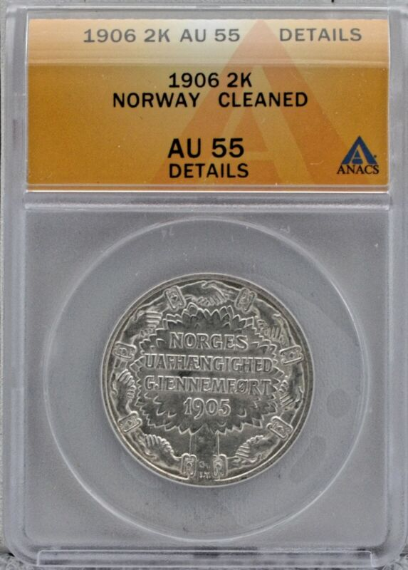 Norway 1906 2 Kroner Independence Silver Coin ANACS AU 55 Details Cleaned