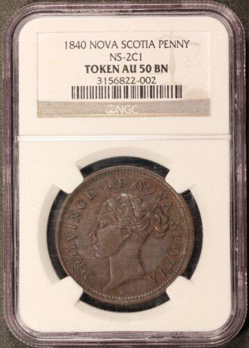 1840 Canada Nova Scotia One Penny Coin Token NS-2C1 - NGC AU 50 BN