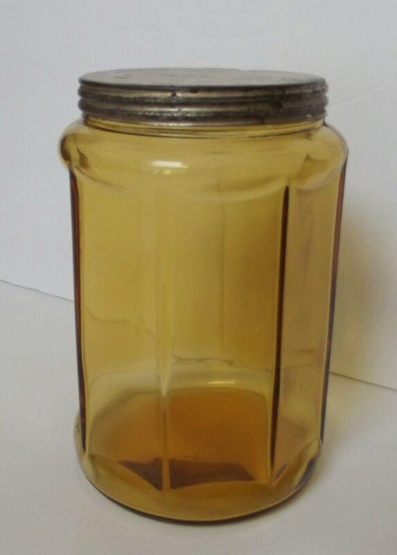 Antique Amber (8) Paneled Glass Cigar Humidor Jar with Metal Lid