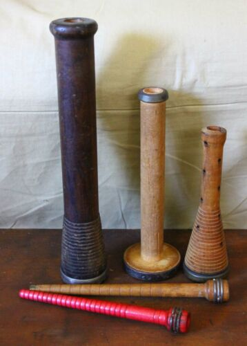 Antique Industrial Wooden Spool Shaped Textile Bobbin LOT of 5