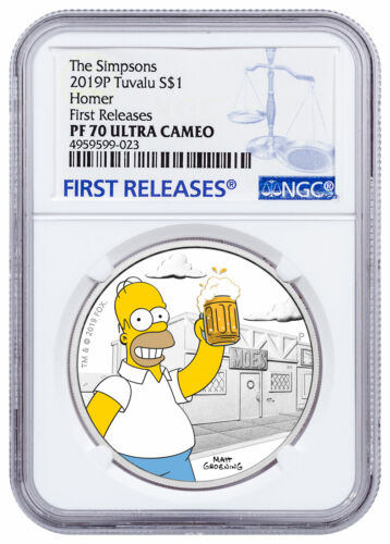 2019 P Tuvalu Simpsons Homer 1 oz Silver Proof $1 Coin NGC PF70 UC FR SKU57742