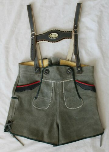 Vintage Lederhosen Suede Leather with Flower Child Size 2 - Authentic Germany