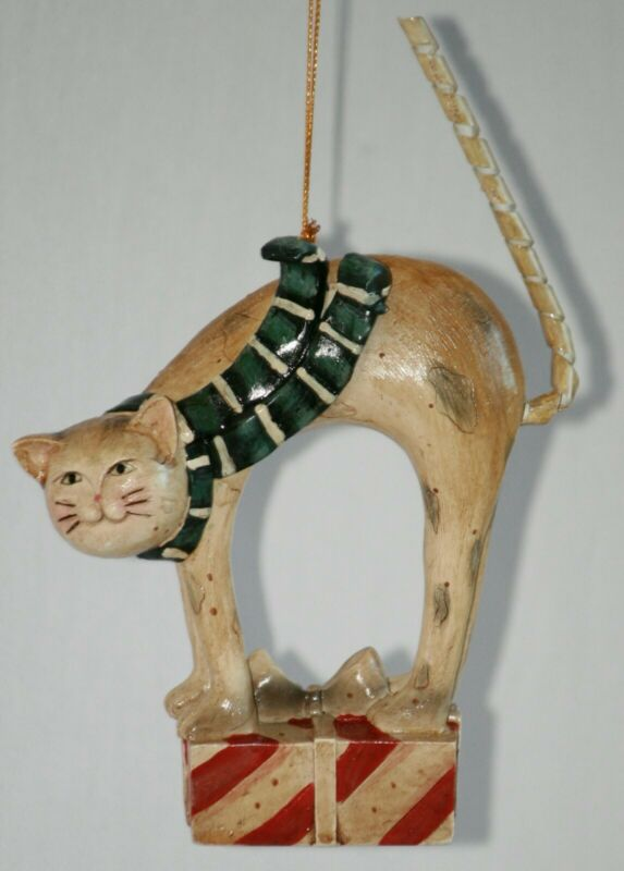Carved Arched Back Cat Ornament with Spiral Tail Blue Scarf Red Christmas Gift