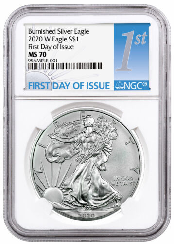 2020 W 1 oz Burnished American Silver Eagle $1 Coin NGC MS70 FDI PRESALE