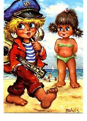 Les Petits-Promenade-Children on Beach-1975-Michel Thomas Artist Signed Postcard