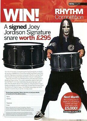 2005 Print Ad of Rhythm Magazine UK Contest Joey Jordison of Slipknot Snare Drum