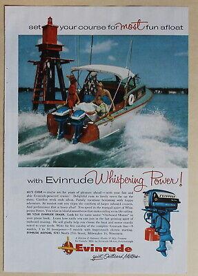 Evinrude Outboard Motors 1956 Vintage Magazine Print Ad 10 x 7