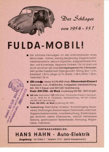 RARE Fuldamobil Microcar Bubblecar Brochure Prospekt Germany 1955