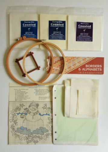 Cross-Stitch Lot - Fabric, Hoops, Borders & Alphabets Book, Graph Paper