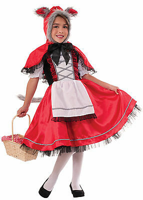 Little Girl Wolf Costume (Girls Little Red Riding Wolf Costume Fairy Tale Storybook Size Small)