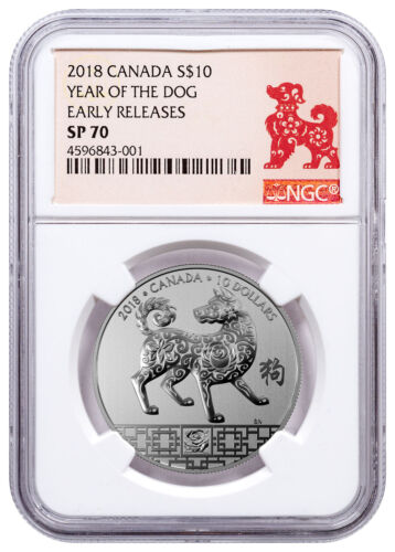 2018 Canada Year of Dog 1/2 oz Silver Lunar Specimen $10 NGC SP70 ER SKU49320