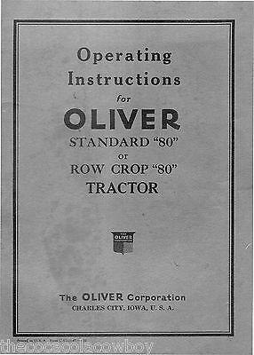 Oliver 80 Standard 80 Row Cop Tractor Operators Manual 021945