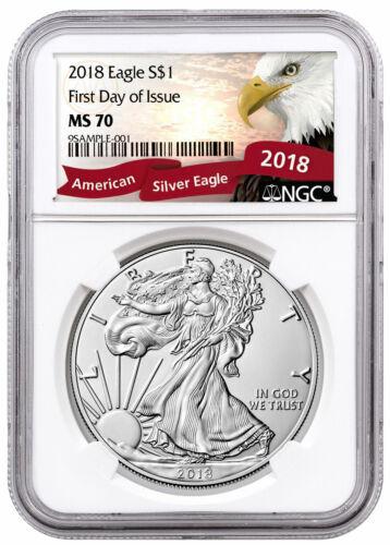 2018 1 oz American Silver Eagle NGC MS70 FDI Exclusive Eagle Label SKU55933