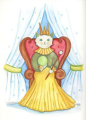 CAT WHITE EMPRESS QUEEN RENAISSANCE COSTUME FOLK ART LISTED ARTIST PAINTING
