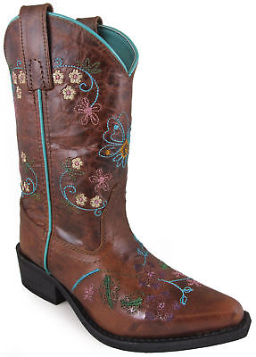 Smoky Mountain Childrens Girls Florence Brown Leather Cowboy Boots - Brown Leather Boots Girls