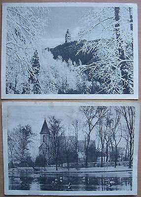 2 AK Berlin (Dorfkirche Britz, Grunewaldturm) aus ABO-Serie von Der Tagesspiegel