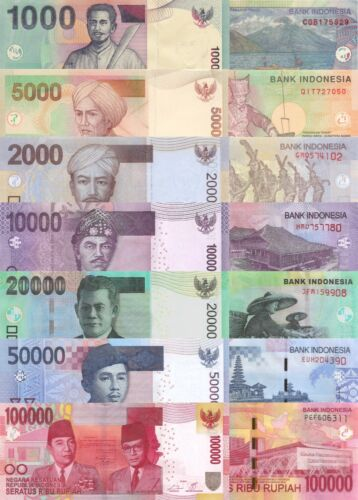 Indonesia 7 Note Set: 1000 to 100000 Rupiah (2012/14) - p141l to p153f UNC