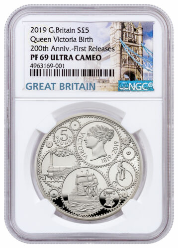 2019 Great Britain 200th Anniv Queen Victoria Silver £5 NGC PF69 UC FR SKU58103