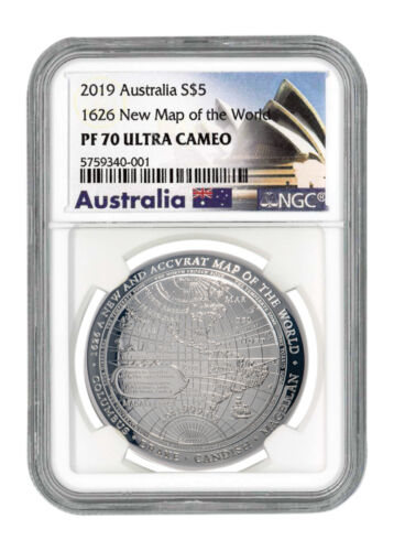 2019 Australia 1626 New Map of the World Domed 1 oz Silver NGC PF70 UC SKU58726