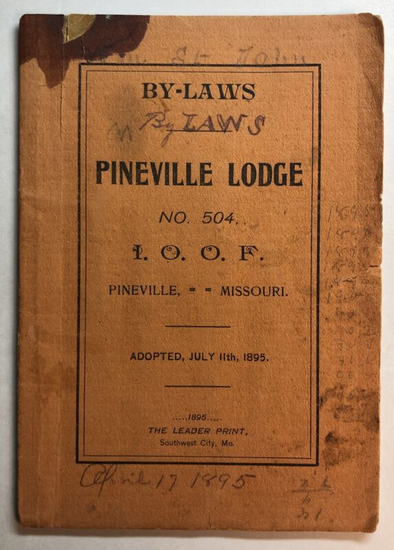 By-Laws Pineville Lodge No. 504 IOOF Pineville Missouri The Leader Print 1895