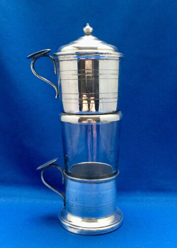 French Antique Silver-plate Individual Coffee Filter Set Paris 1920's