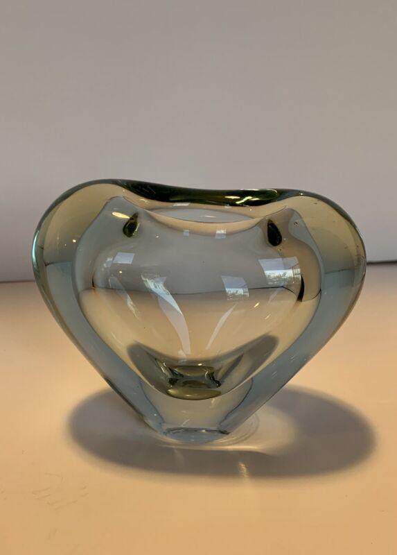 Large Vintage Per Lütken Holmgaard Denmark blue art glass heart vase signed