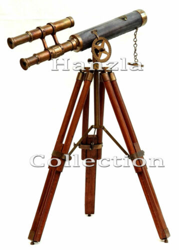 Antique Leather Brass Telescope Vintage Double Barrel Scope With Wooden Tripod