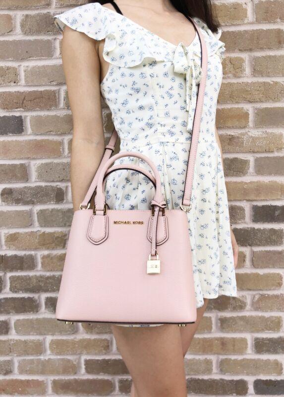 2b0ccf0f99a4 Michael Kors Adele Mercer Medium Messenger Bag Pastel Pink Ballet Leather
