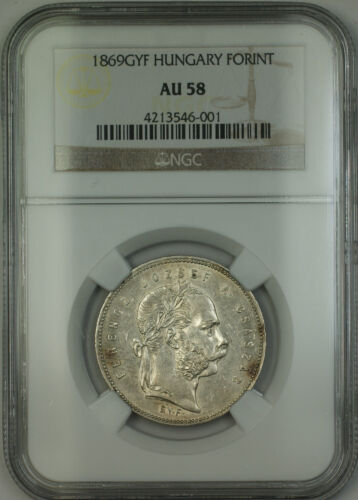 1869-GYF Hungary Silver Forint Coin NGC AU-58