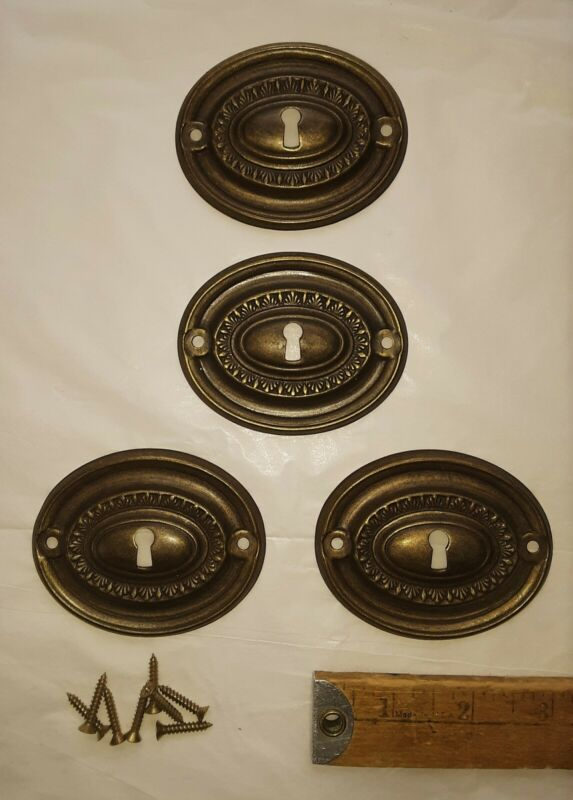 4 Vintage Hepplewhite Style Escutcheon Plates Aged Brass Color Key Hole Covers