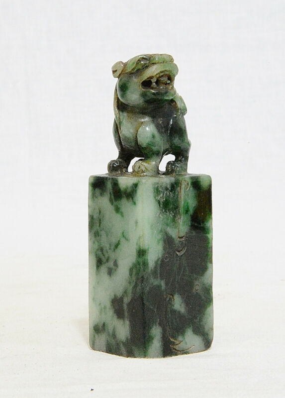 Nice Hand Carved Chinese Natural Jadeite Seal   M801