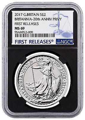 2017 G Britain 1 oz Silver Britannia 20th Trident Privy £2 NGC MS69 ER SKU46477