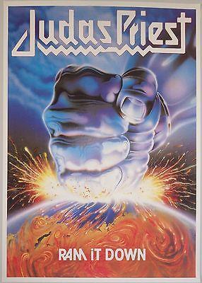 "ALBUM POSTER~Judas Priest Ram It Down 1988 Original 24x34"" Vintage UK Import~NOS"