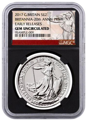 2017 Britain 1oz Silver Britannia Trident Privy £2 NGC GEM UNC ER Black SKU46491