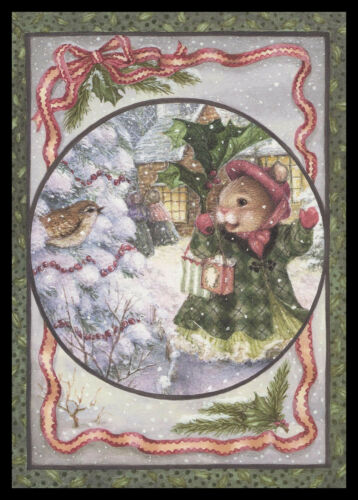 1072GC Susan Wheeler - Bird Mouse Wren - Christmas Greeting Card