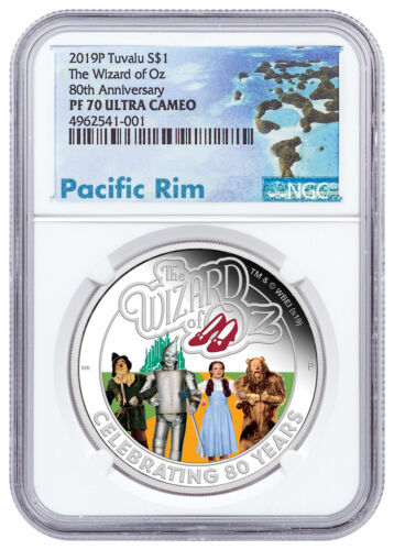2019 P Tuvalu Wizard of Oz 1 oz Silver Colorized Proof $1 NGC PF70 UC SKU57826
