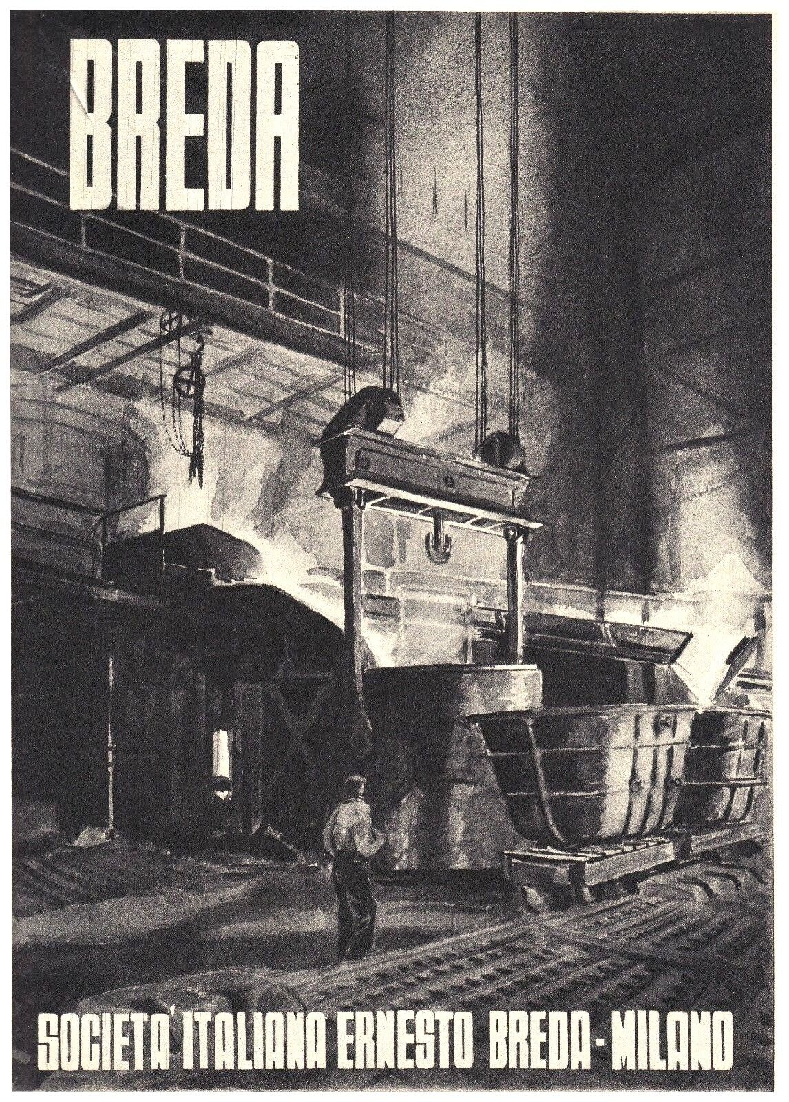 PUBBLICITA' 1943 BREDA AUTARCHIA FONDERIA INDUSTRIA ACCIAIO SIVIERA AUTARCHIA