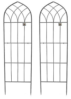 Gothic Wall Trellis Garden Plant Support Frame Large Wide Black 1.8m Set of 2