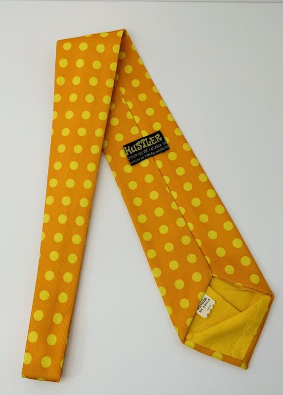 Vintage Hustler Necktie Orange Polyester With Yellow Polka Dots Mens Tie