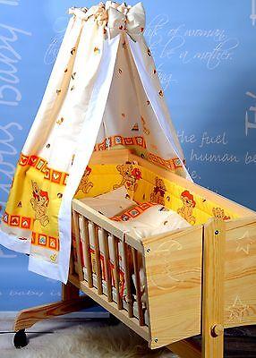 Babywiege Stubenwagen Komplett Set Himmel Matratze Kissen Decke Massiv Gravur !!