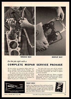 1959 MoPar Parts And Accessories Service Package Kit Chrysler Vintage Print Ad