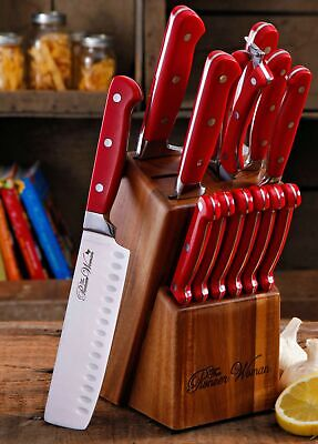 Pioneer Woman 14-Piece Cowboy Rustic Cutlery Knives Set with Block, Red Rosewod Cherry Block Cutlery Set
