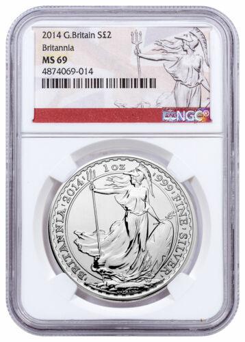 2014 Great Britain 1 oz Silver Britannia £2 NGC MS69 Exclusive Label SKU56868