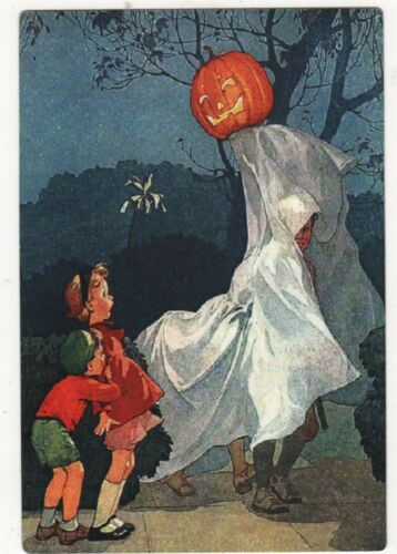 REPRO HALLOWEEN POST CARD OF 2 CHILDREN SCARED BY BOY IN GHOST COSTUME