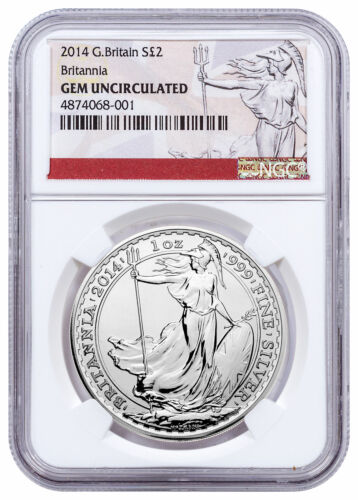 2014 G Britain 1 oz Silver Britannia £2 NGC GEM Uncirculated Exclusive SKU56869