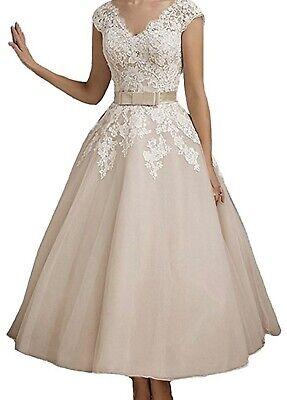 Vintage Lace Tea Length Wedding Dress Champagne Ivory Size XL